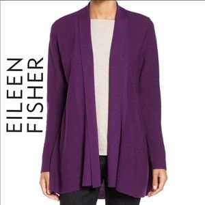 Eileen Fisher Merino Wool Open Style Cardigan Sm